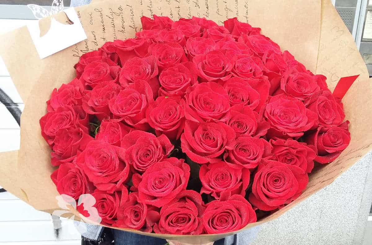 Букет из 51-й длинной красной розы