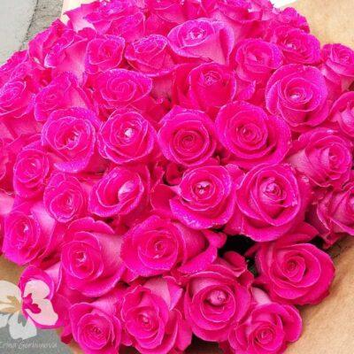 Букет из 51-й длинной темно-розовой розы