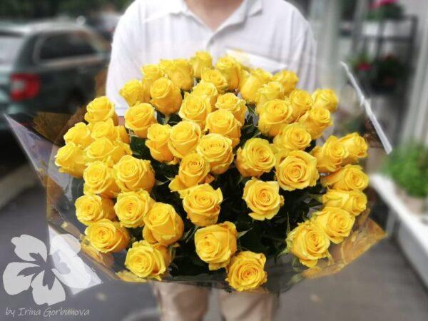 50 dlouhých žlutých růží